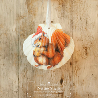 Hanging Bobble Hat Squirrel Giant Scallop Shell Decoration by Netties Shells