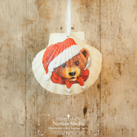 Hanging Bobble Hat Bear Giant Scallop Shell Decoration by Netties Shells