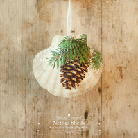Hanging Pine Cone Single Giant Scallop Shell Decoration by Netties Shells