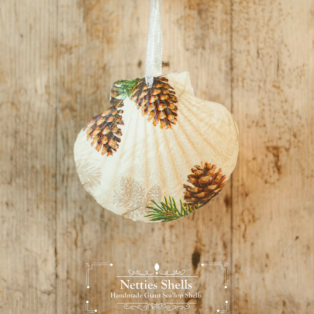 Hanging Pine Cone Many Giant Scallop Shell Decoration by Netties Shells