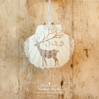 Hanging Grey Reindeer Giant Scallop Shell Decoration by Netties Shells