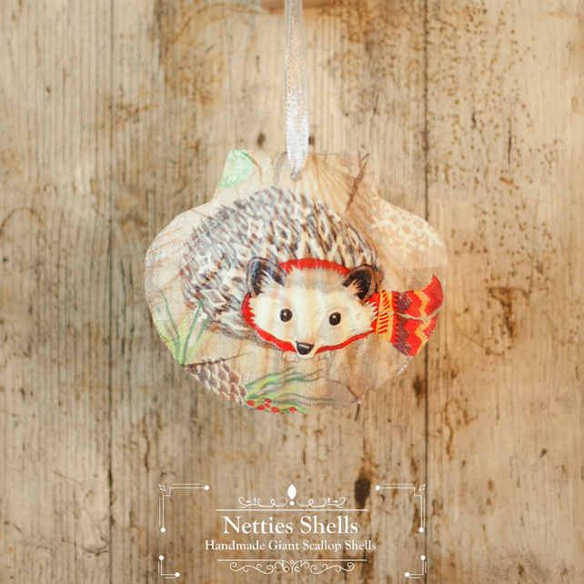 Hanging Hedgehog in Scarf Giant Scallop Shell Decoration by Netties Shells