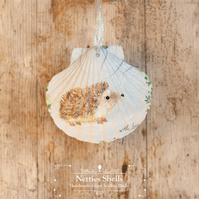 Hanging Hedgehog in Snow Soft Giant Scallop Shell Decoration by Netties Shells