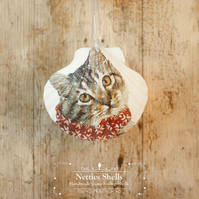 Hanging Cat in a Scarf Giant Scallop Shell Decoration by Netties Shells
