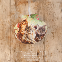 Hanging Kittens in a Basket Giant Scallop Shell Decoration by Netties Shells