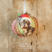 Hanging Dog in Tartan Giant Scallop Shell Decoration by Netties Shells