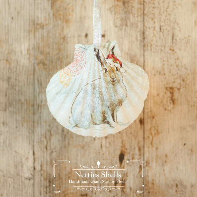 Hanging Country Rabbit Giant Scallop Shell Decoration by Netties Shells