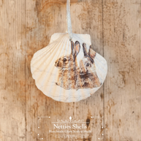 Hanging Rabbits in the Snow Giant Scallop Shell Decoration by Netties Shells