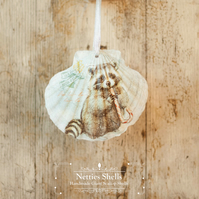Hanging Raccoon with Candy Giant Scallop Shell Decoration by Netties Shells