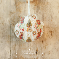 Hanging Classic Santa Giant Scallop Shell Decoration by Netties Shells