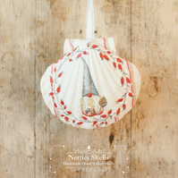 Hanging Gonk, Gnome, Santa Giant Scallop Shell Decoration by Netties Shells