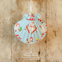 Hanging Cartoon Snowmen Giant Scallop Shell Decoration by Netties Shells