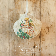 Hanging Angel with Gold Wings Decoration Giant Scallop Shell by Netties Shells
