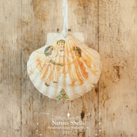 Hanging Dancing Angels Decoration on Giant Scallop Shell by Netties Shells