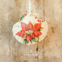 Hanging Poinsettia Giant Scallop Shell Decoration by Netties Shells