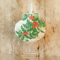 Hanging Holly Branch Giant Scallop Shell Decoration by Netties Shells