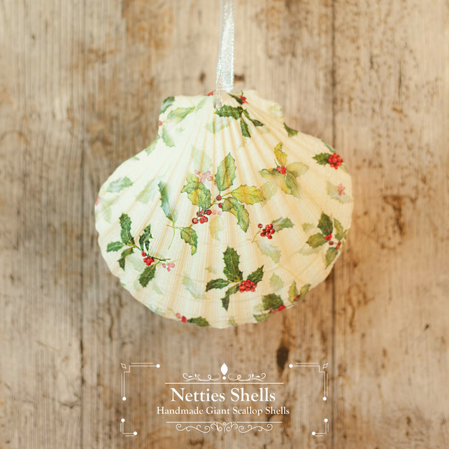 Hanging Holly Pattern Giant Scallop Shell Decoration by Netties Shells