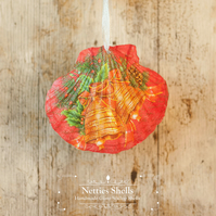 Hanging Gold Bells Decoration on Giant Scallop Shell by Netties Shells
