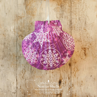 Hanging Purple Snowflake Decoration on Giant Scallop Shell by Netties Shells