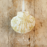 Hanging Gold Snowflake Decoration on Giant Scallop Shell by Netties Shells