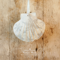Hanging Silver Snowflake Decoration on Giant Scallop Shell by Netties Shells