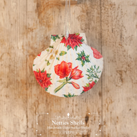 Hanging Christmas Flowers Giant Scallop Shell Decoration by Netties Shells