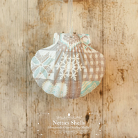 Hanging Patchwork Snowflake Decoration on Giant Scallop Shell by Netties Shells