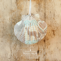 Hanging Patchwork Reindeer Decoration on Giant Scallop Shell by Netties Shells