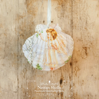 Hanging Angel and Bird Decoration on Giant Scallop Shell by Netties Shells