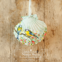 Hanging Blue Tit Decoration on Giant Scallop Shell by Netties Shells