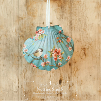 Hanging Finch Blue Blossom Decoration on Giant Scallop Shell by Netties Shells