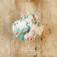 Hanging Peacock Decoration on Giant Scallop Shell by Netties Shells