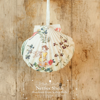 Hanging Fairy and Flowers Decoration on Giant Scallop Shell by Netties Shells