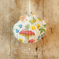 Hanging Fairy on Toadstool Decoration on Giant Scallop Shell by Netties Shells