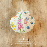 Hanging Fairy and Foxglove Decoration on Giant Scallop Shell by Netties Shells