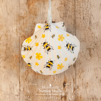 Hanging Bumble Bee Decoration on Giant Scallop Shell by Netties Shells