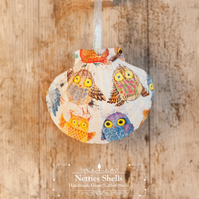 Hanging Scruffy Owls Decoration on Giant Scallop Shell by Netties Shells