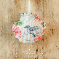 Hanging Blue Humming Bird Decoration on Giant Scallop Shell by Netties Shells