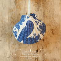 Hanging Blue Parrot Bird Decoration on Giant Scallop Shell by Netties Shells