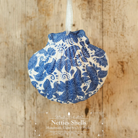 Hanging Blue Flowers Decoration on Giant Scallop Shell by Netties Shells