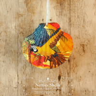 Hanging Blue Macaw Decoration on Giant Scallop Shell by Netties Shells