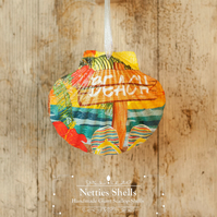 Hanging Sunset Beach Sign Decoration on Giant Scallop Shell by Netties Shells