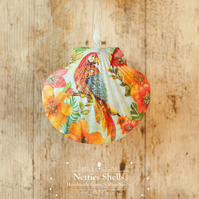 Hanging Red Floral Macaw Decoration on Giant Scallop Shell by Netties Shells