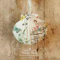 Hanging Fairy on Mushroom Decoration on Giant Scallop Shell by Netties Shells