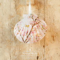 Hanging Pink Blossom Decoration on Giant Scallop Shell by Netties Shells