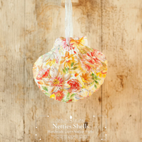 Hanging Yellow Orange Flower Decoration on Giant Scallop Shell by Netties Shells