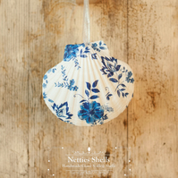Hanging Blue White Flower Decoration on Giant Scallop Shell by Netties Shells