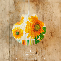 Hanging Sunflower Decoration on Giant Scallop Shell by Netties Shells