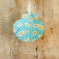 Hanging Small Blue Daisy Decoration on Giant Scallop Shell by Netties Shells