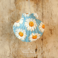 Hanging Big Blue Daisy Decoration on Giant Scallop Shell by Netties Shells
